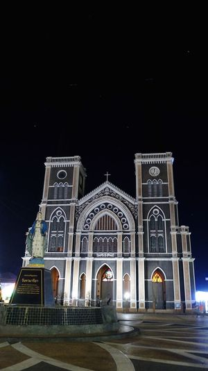 Cathedral in Chantaburi, Thailand Religion Spirituality Night Place Of Worship Architecture Built Structure Arch Travel Destinations No People
