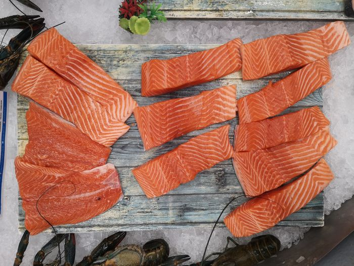 High angle view of orange fish on table