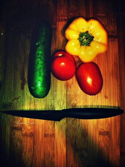 Vegetables Fresh Vegetables Vegetable Vegetables Of EyeEm Fresh Food Fresh Foods Tomatoes Red Tomatoes Fresh Tomatoes Cucumber Cucumbers Pepper Peppers Yellow Peppers Fresh Peppers Knife Close-up Nature Nature_collection Mobile Photography Natural Beauty Taking Photos Love To Take Photos ❤