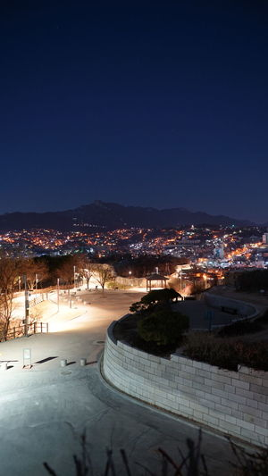 Sky Night Architecture Built Structure Illuminated Building Exterior City No People High Angle View Cityscape Clear Sky Naksan Park Seoul, Korea Empty Park Winter City Winter Old And New Architecture