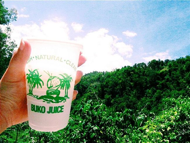 Cold Buko juice + SUN + Cool green view= Refreshing Relaxing Thirstquencher Nature Oslobcebu Summerheat Summertime