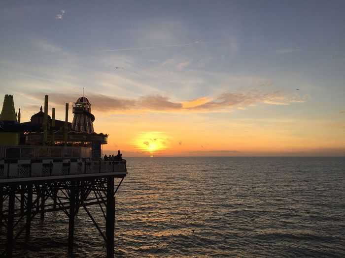 Sunset Ocean Brighton Pier Sky Beauty In Nature Uk