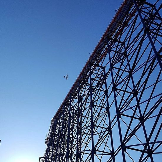 Just rode this over 200ft high old school roller coaster. 😬🎢 Blackpool BlackPoolPleasurebeach Rollercoaster Nofilter Silhouette High Thrillseeker Uk Scenic Photographer Aeroplane Sky Clouds Scaredofheights