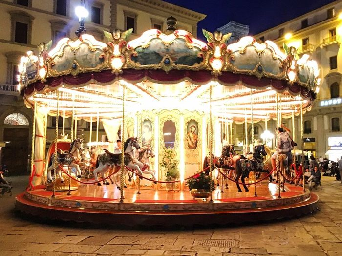 Amusement Park Arts Culture And Entertainment Horse Carousel Carousel Horses Animal Representation Amusement Park Ride Merry-go-round Illuminated Leisure Activity Enjoyment Night King - Royal Person No People Outdoors Rome Italy Travel Travel Photography Roma Night Photography Your Ticket To Europe