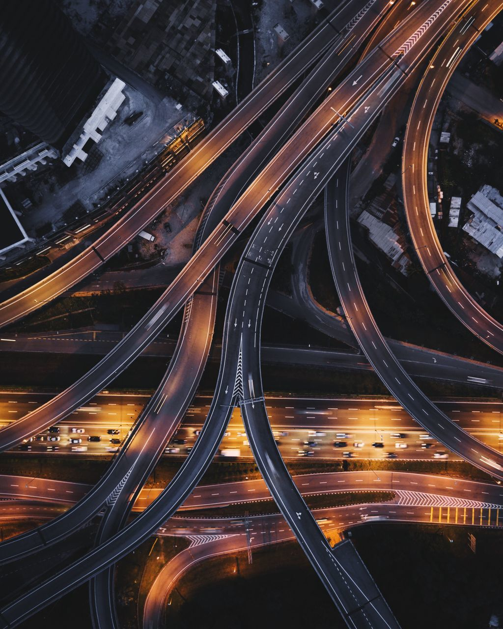 High Angle View Of Highway At Night