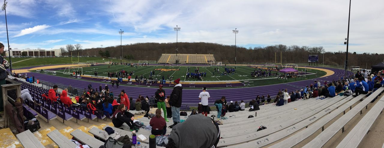 Large Group Of People High Angle View Cloud - Sky Sky Sport Sports Track Outdoors Stadium Track Race Day Track And Field Panorama