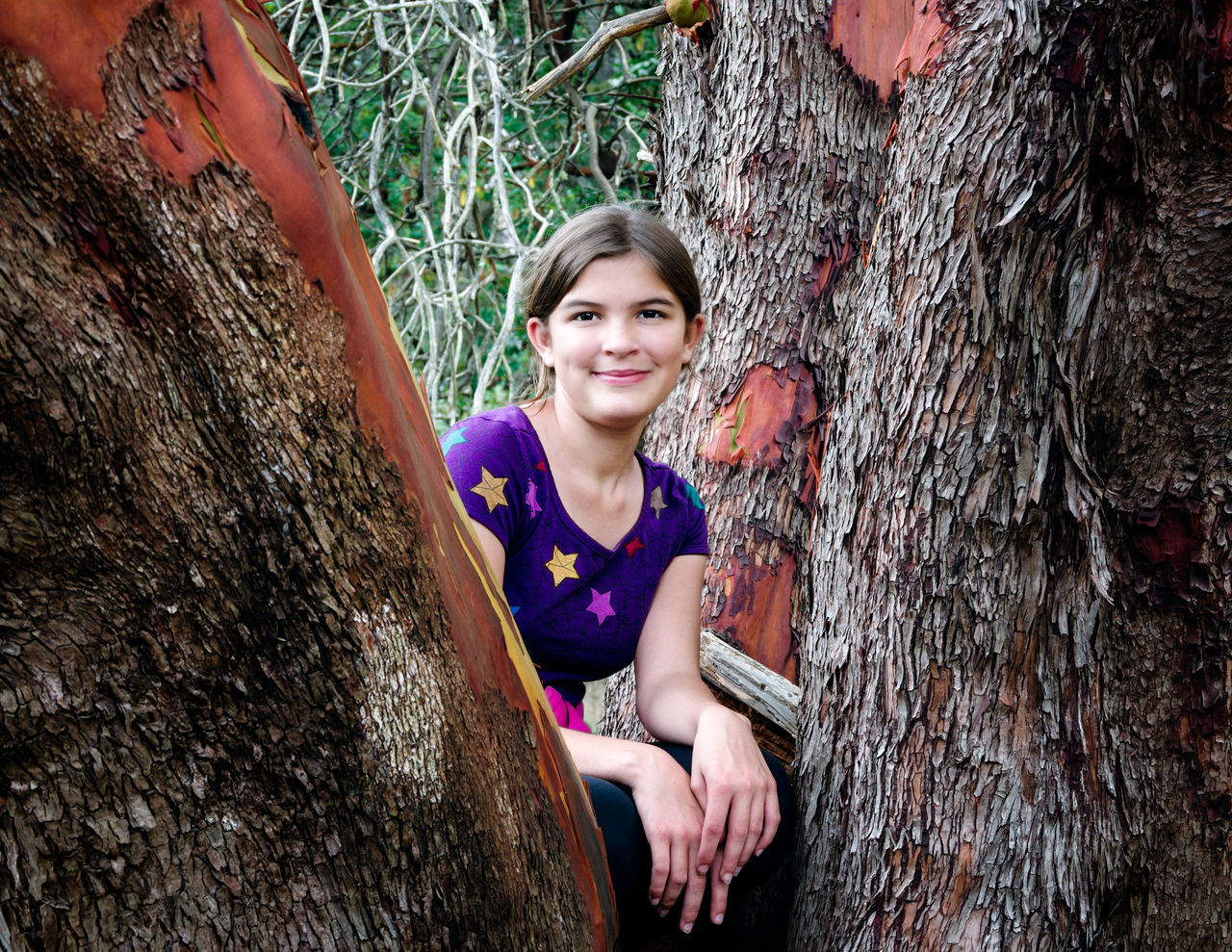 tree trunk, smiling, tree, looking at camera, young adult, rock - object, portrait, happiness, young women, day, rock climbing, one person, outdoors, leisure activity, real people, sitting, one young woman only, blond hair, rock face, climbing, nature, people, adult, adults only