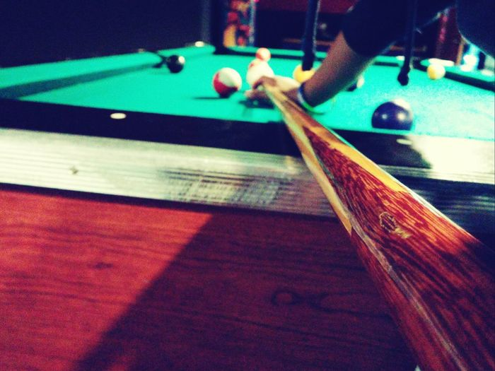 Indoors  Playing Person Focus On Foreground Pool Billards  Pool Stick Perspective Macro Vintage
