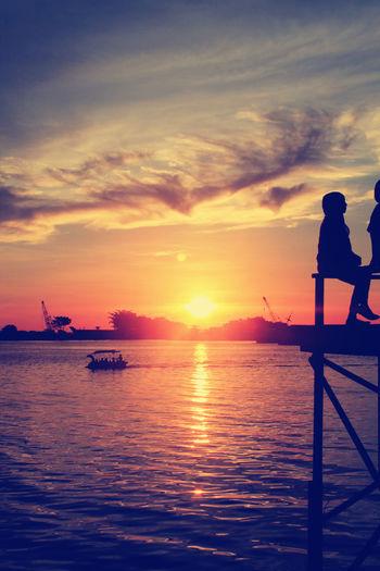Shillouette enjoying Sunset part 2.. Losari Beach Makassar-Indonesia