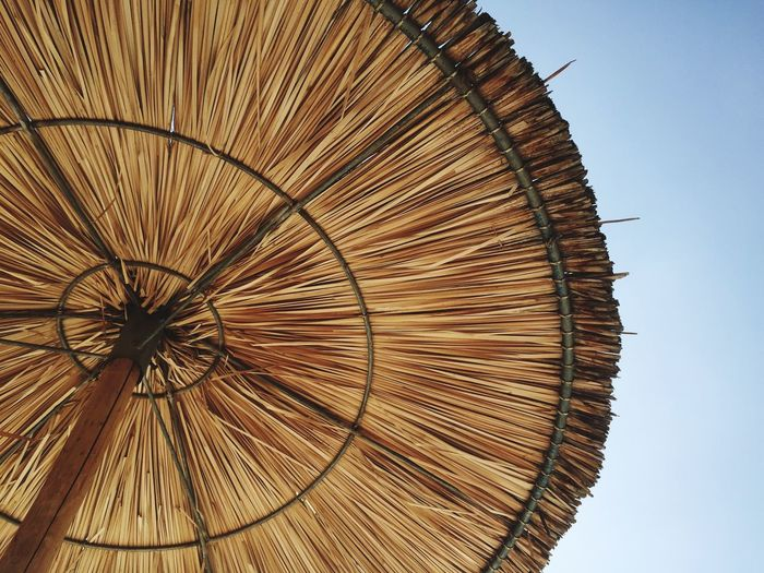 Crete Holiday Eye4photography  EyeEm Best Shots Design Close-up Wood - Material Nature Outdoors Clear Sky Security Single Object Protection Umbrella Day Parasol Brown Thatched Roof Low Angle View Directly Below Pattern No People Sky Roof
