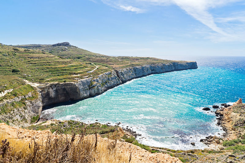 Water Sea Sky Day Nature No People Outdoors Panoramic View Malta Summer Mountain Glif Seascape Fieldscape Beauty In Nature Scenics - Nature Tranquil Scene Tranquility Land Beach Blue Rock Rock - Object Horizon Over Water Solid Turquoise Colored Idyllic Non-urban Scene