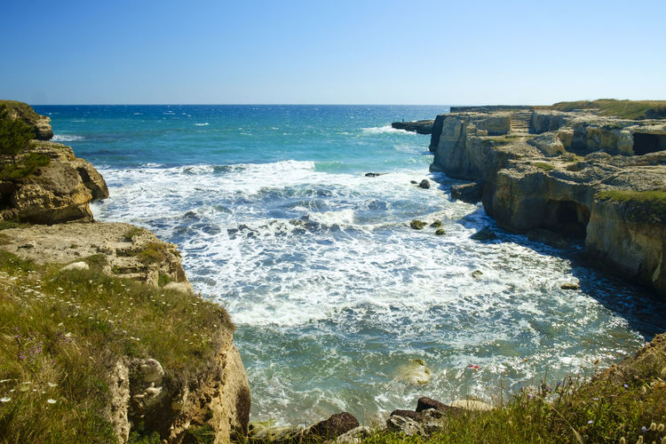 Architecture Beautiful Beauty In Nature Beauty In Nature Clear Sky Day Horizon Over Water Italy Lecce Melendugno Nature No People Outdoors Rock - Object Salento Salento Puglia Scenics Sea Sky Sunlight Travel Destinations Water Wave