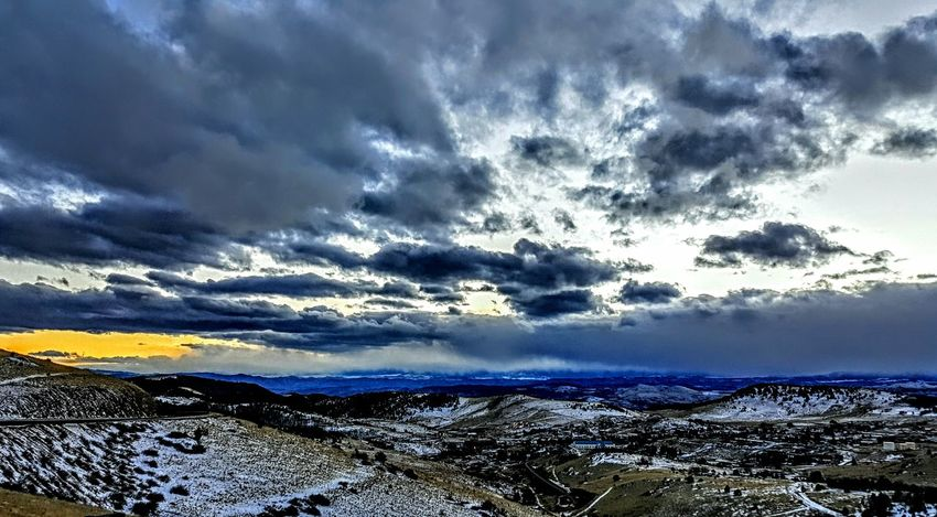 Mountain Sunset Mountains Evening Colorful Clouds Snow Covered Mountains Dusk View From Above Colorado Cripple Creek Mountains And Sky Blue Fire In The Sky