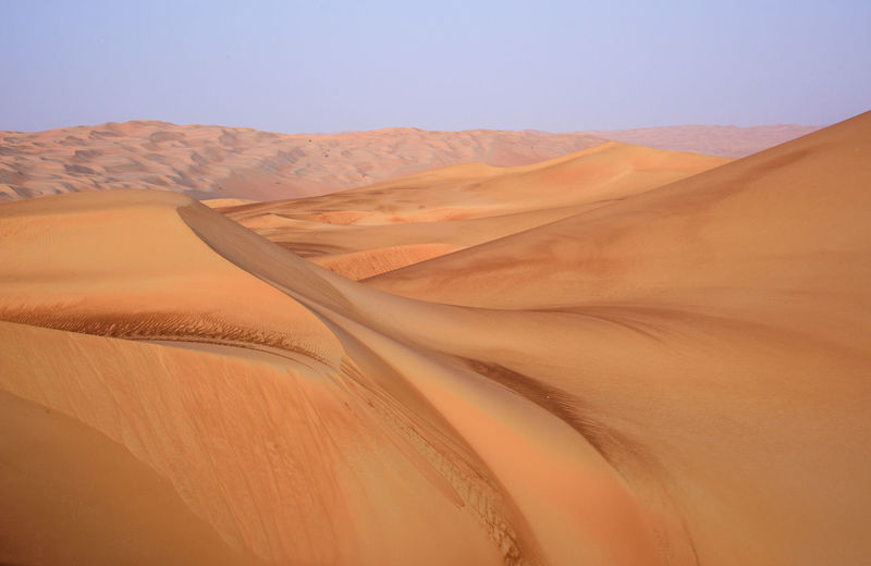 Scenic View Of Sand Dunes In Desert Against Clear Sky