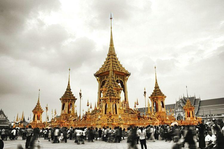The royal crematorium Kingrama9 Thailand KingramaIX Heaven Crematorium Landscape Architecture People Day Sky Gold