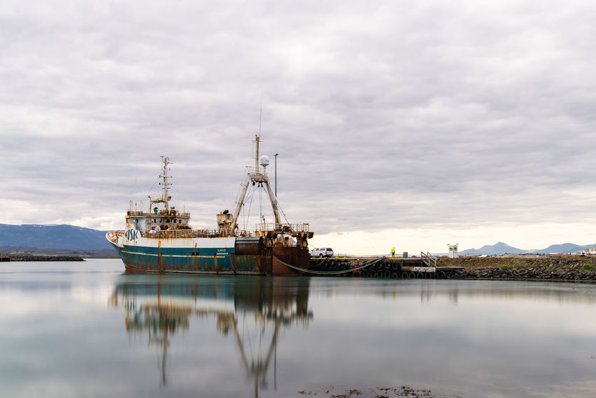 Beautifuliceland Cloud - Sky Day Fishing Boat Fishing Industry Industry Mode Of Transportation Moored Nature Nautical Vessel No People Outdoors Reflection Sailboat Sea Ship Sky Tranquility Transportation Trawler Water Waterfront My Best Travel Photo
