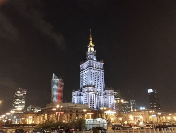 Night Travel Destinations Architecture Travel City Illuminated Tower Outdoors Skyscraper Clock Cityscape Russian Architecture Building Exterior Poland Pałac Kultury I Nauki Palace Of Culture And Science In Warsaw Pkin Cityscape Architecture Warszawa  Sky Nightphotography Night Lights Nightlights