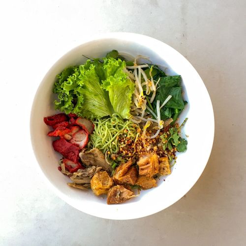 Thai jade noodle with barbecue pork. Thai Food Noodle Thai Food Spicy Food Asian  Healthy Eating Freshness Plate Bowl Ready-to-eat Meal Close-up Healthy Lifestyle Indulgence Pork Barbecue Noodles