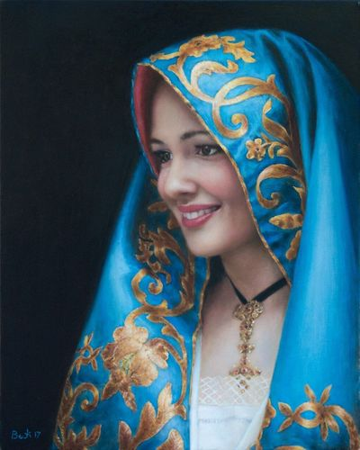 Traditional Clothing Young Women Young Adult Portrait Beautiful Woman Indoors  Sari Smiling Close-up Art, Drawing, Creativity ArtWork Art Museum 2017 Bruno Berti Giusi