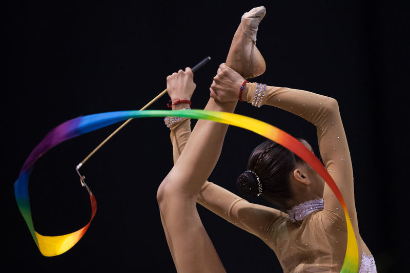 an athlete performs a performance during a Pan American Rhythmic Gymnastics Championship Argentina Balance Beautiful Discipline Gym Gymnastics Hand Perfection Real People Rhythmic Gymnastics Sport Woman The Color Of Sport