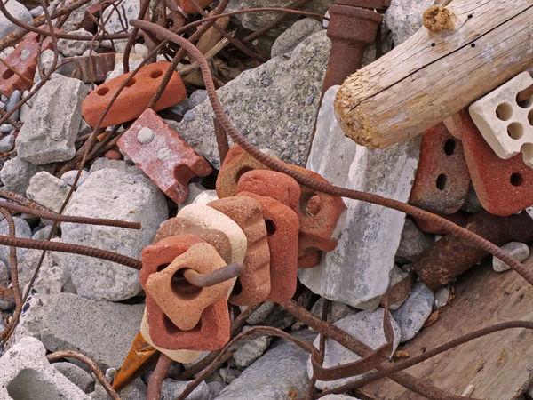 Brick Geometry Junk Log Metal Pattern Recycle Rust Stone Weathered Wood