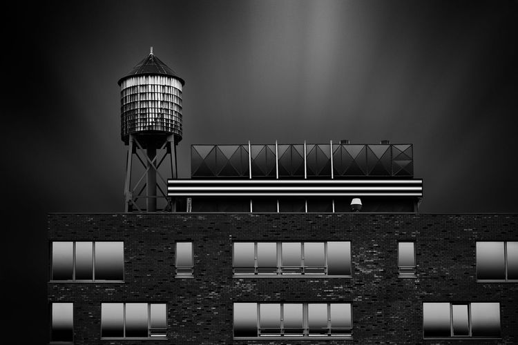 The Rooftop Architecture Blackandwhite Brick Wall Building Building Exterior Built Structure Fine Art Photography Long Exposure Netherlands Roof Rotterdam Water Tower Monochrome Photography #urbanana: The Urban Playground