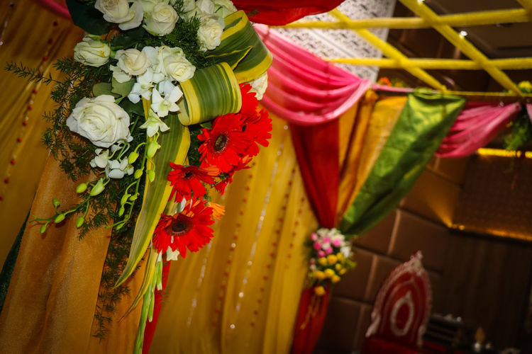 Flower Multi Colored Flower Head Bouquet Close-up Red Marriage Hall Decoration Decoration With Flowers Stage Indian Wedding Indian Event Wedding Photography Wedding Event