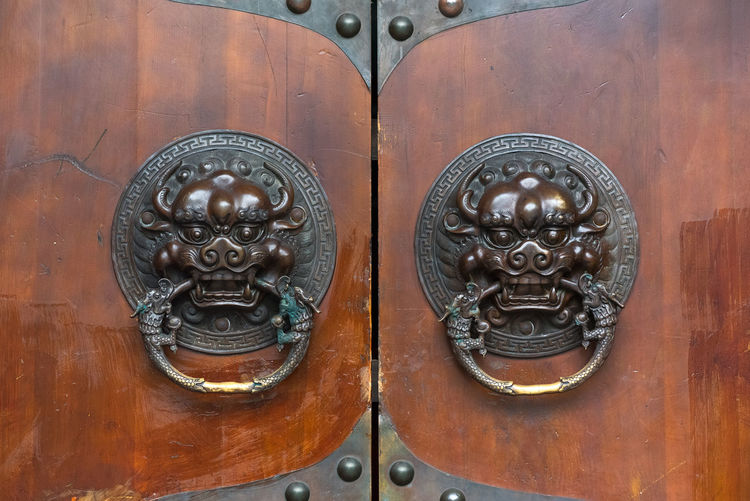 chinese old door Animal Representation Antique Art And Craft Carving - Craft Product Cat Close-up Craft Door Door Knocker Doorknob Entrance Feline Full Frame Knob Metal No People Ornate Protection Representation Safety Security