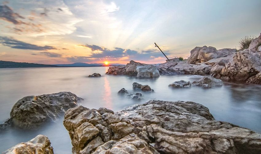 Sunset Sunset Sea Nature Horizon Over Water Landscape Seascape Krk  Croatia Silo Tunera Long Exposure Photography