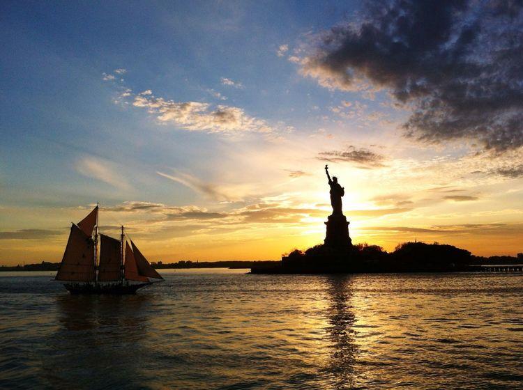 Statue Of Liberty New York City NYC Sunset Water Silhouette Travel Destinations Sky America Patriotism