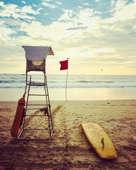 Beach Water Sea Sky Land Horizon Over Water Horizon Scenics - Nature Nature Cloud - Sky Flag Tranquility Tranquil Scene Sand No People Beauty In Nature Day Outdoors Chair