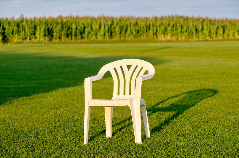 View of chair on field