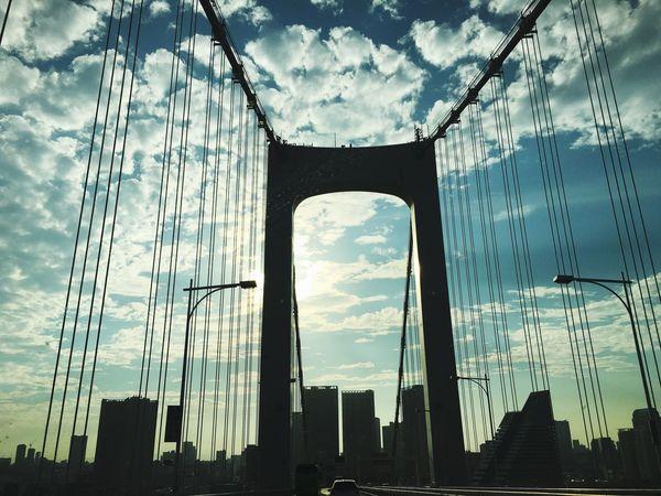 Bridge Rainbowbridge Notblooklyn Japan Japan Photography Sky Cloud - Sky Urban Skyline Architecture 東京 レインボーブリッジ frFromthecaroTokyo