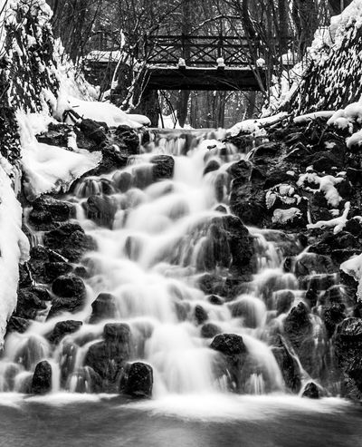 The Return Lillafüred Mik Magyarország Hungary Black & White Blackandwhite Bridge Motion Long Exposure Blurred Motion Water Day Waterfall Nature No People Outdoors Tree Beauty In Nature