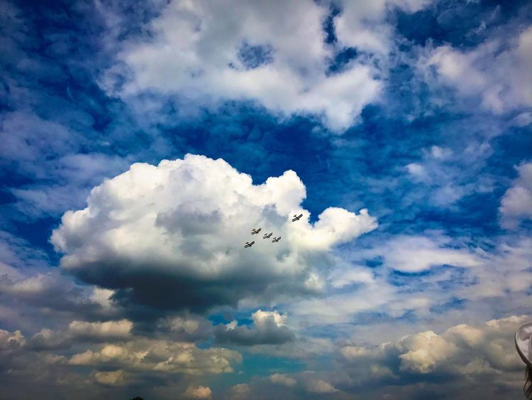 Cloud - Sky Flying Sky Bird Cloudscape Nature Low Angle View Sky Only Beauty In Nature Outdoors Scenics Day No People Mid-air Journey Airplane Animal Themes Spread Wings Ashford Kent Planes In The Sky Battle Of Britain 2017 The Great Outdoors - 2018 EyeEm Awards