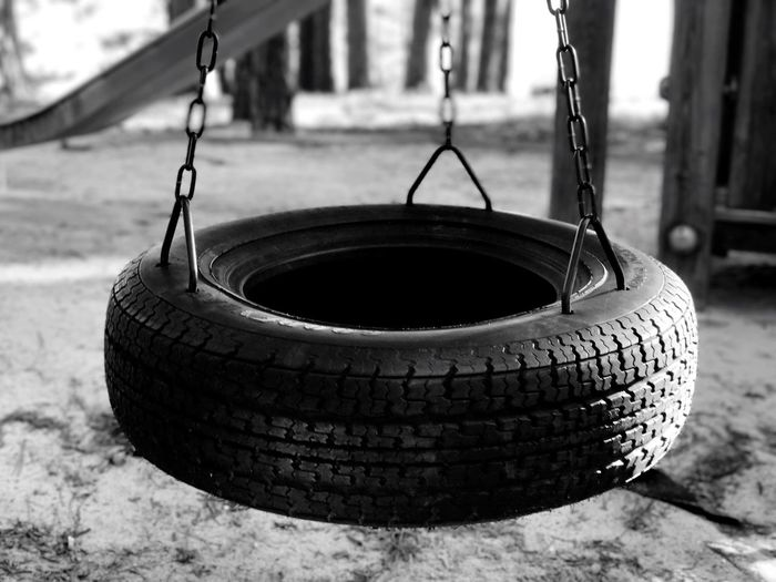 Focus On Foreground Close-up Outdoors No People Playground Playground Equipment Tire Tire Swing Childhood Memories Childhooddays Childhood Childhoodmemories Black And White Photography Black And White Collection  Youthful Days Back In The Day Fun Swing Live For The Story