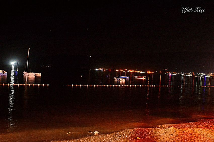 Nikon D5200 Myobjective Reflection Night Illuminated Water Beach Outdoors Sea Nature Sky