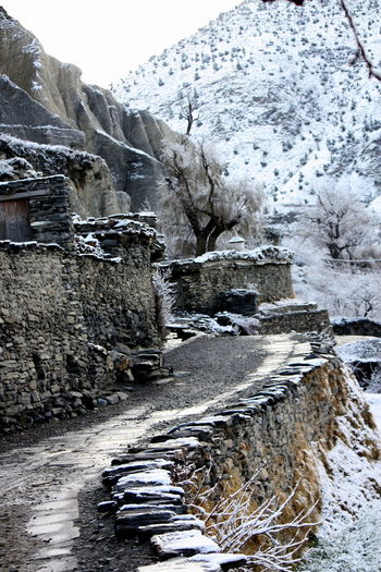 Close to Marpha, on the way to Jomsom Beauty In Nature Cold Temperature Marpha Nepal No People Non-urban Scene Outdoors Path Pathway Season  Snow Covered The Way Forward Tranquil Scene Weather Winter