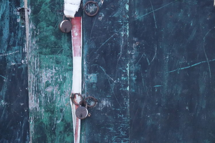Close-up of old rusty metal door
