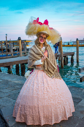 Carnival Carnival In Venice Venice, Italy Adult Beautiful Woman Blond Hair Carnival Masks Day Front View Leisure Activity Lifestyles Looking At Camera Mask Nature One Person One Woman Only Outdoors People Portrait Real People Sky Standing Venetian Mask Water Women Young Adult Young Women