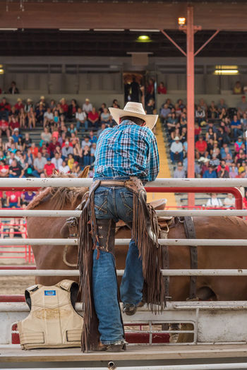 Williams Lake, British Columbia/Canada - July 1, 2016: man watches the saddle bronc competition from behind the chutes at the 90th Williams Lake Stampede, one of the largest stampedes in North America 90th Williams Lake Stampede Arena Behind The Scenes British Columbia, Canada Canadian Professional Rodeo Association Cowboy Man Rodeo Spectators Travel Audience Candid Chutes Crowd Documentary Editorial  Horse Leather Chaps person Portrait Professional Rodeo Saddle Bronc Stampede Stampede Grounds Tourism
