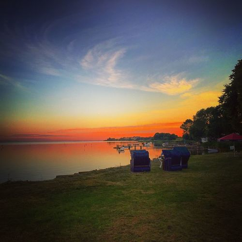 Sky Water Sunset Tranquil Scene Bench Tranquility Scenics Sea Beauty In Nature Nature Cloud - Sky Orange Color Outdoors Blue Shore Non-urban Scene Vacations