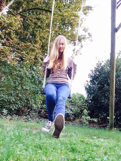 Hi :) Girl Blonde Human Garden Swing