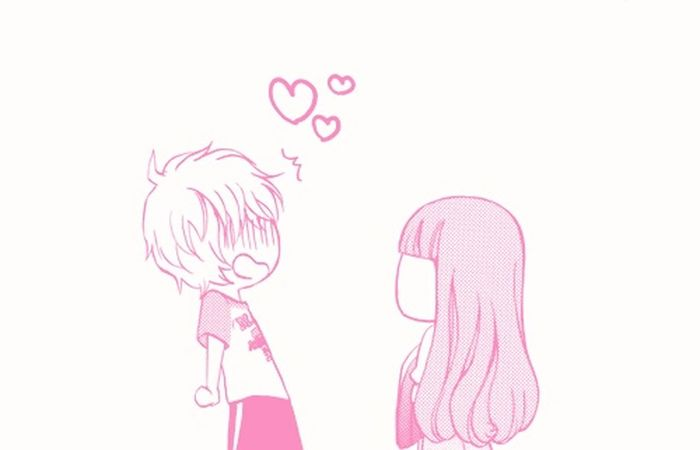 Cute Boy & Pretty Girl Fall In Love ♡ Funny Pics Art Pink