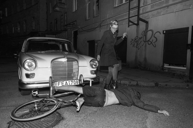 Stuttgart Black And White Mercedes-Benz Night Accident Bicycle Cyclist Concrete Car Accident Vehicle Girl Having Fun Mural Linas Was Here