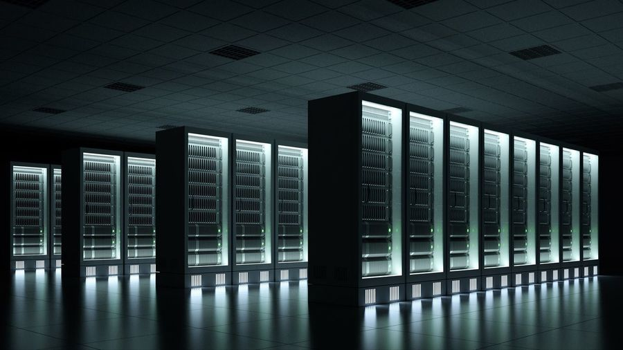 dark data center with racks Row 3D Night Glowing Dark Computer Computing Cloud Cloud Computing Data Center Datacenter Rack Server Indoors  Security Protection No People Architecture Built Structure Day Network Server