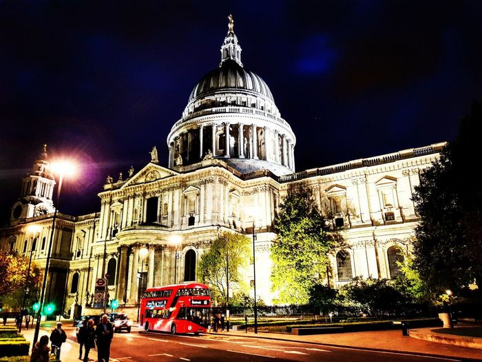 LONDON❤ London Streetphotography St Paul's Cathedral Nightphotography City At Night Architecture Built Structure Night Building Exterior Travel Destinations Dome Sky Outdoors Illuminated Travel Government City Politics And Government No People Paint The Town Yellow
