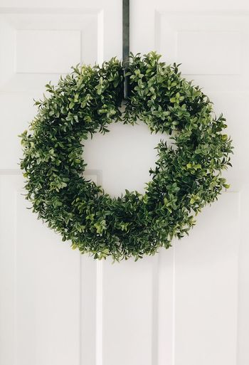 Welcome Plant Green Color Indoors  Growth No People Potted Plant Decoration Wall - Building Feature Day Nature White Color Tree Home Interior Hanging Wreath Close-up Houseplant Ivy Plant Part Shape
