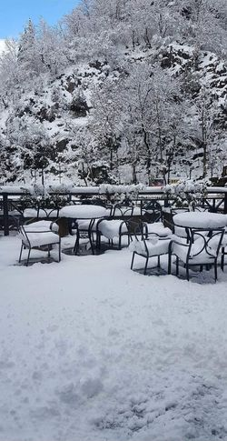 Snowy outdoor cafe Shades Of Winter Weather Snow Winter Cold Temperature Day Outdoors Nature No People Beauty In Nature