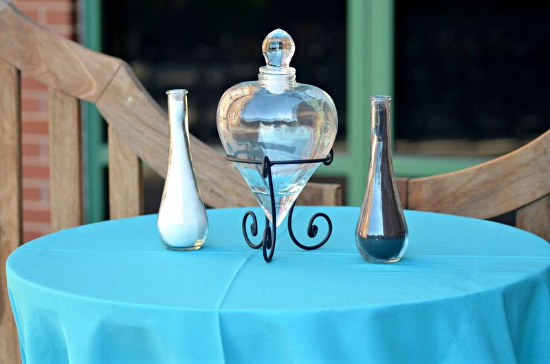 Salt and pepper shaker on table